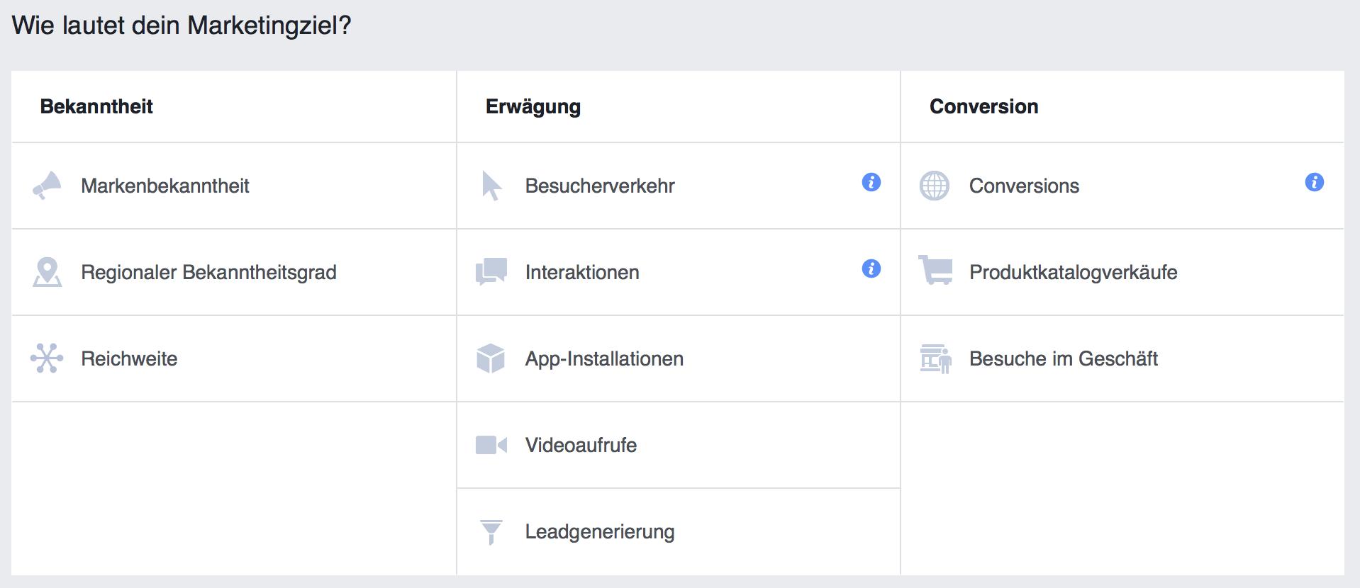 Schritt 1 im Facebook Werbeanzeigenmanager - Die Kampagnenziele