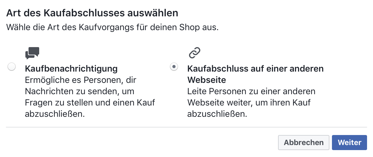 Facebook-Shop Kaufabschluss