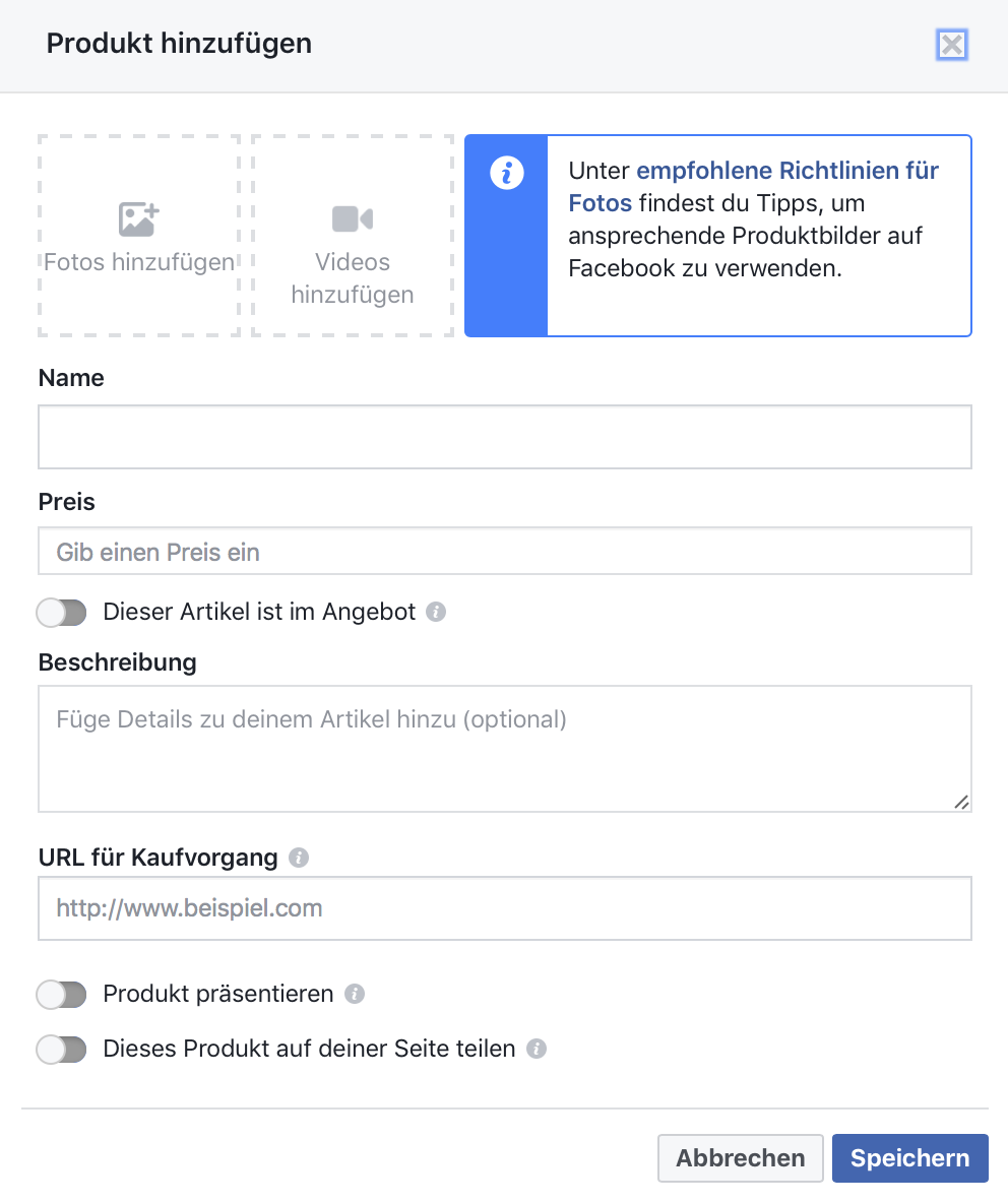 Facebook-Shop Produkte einstellen