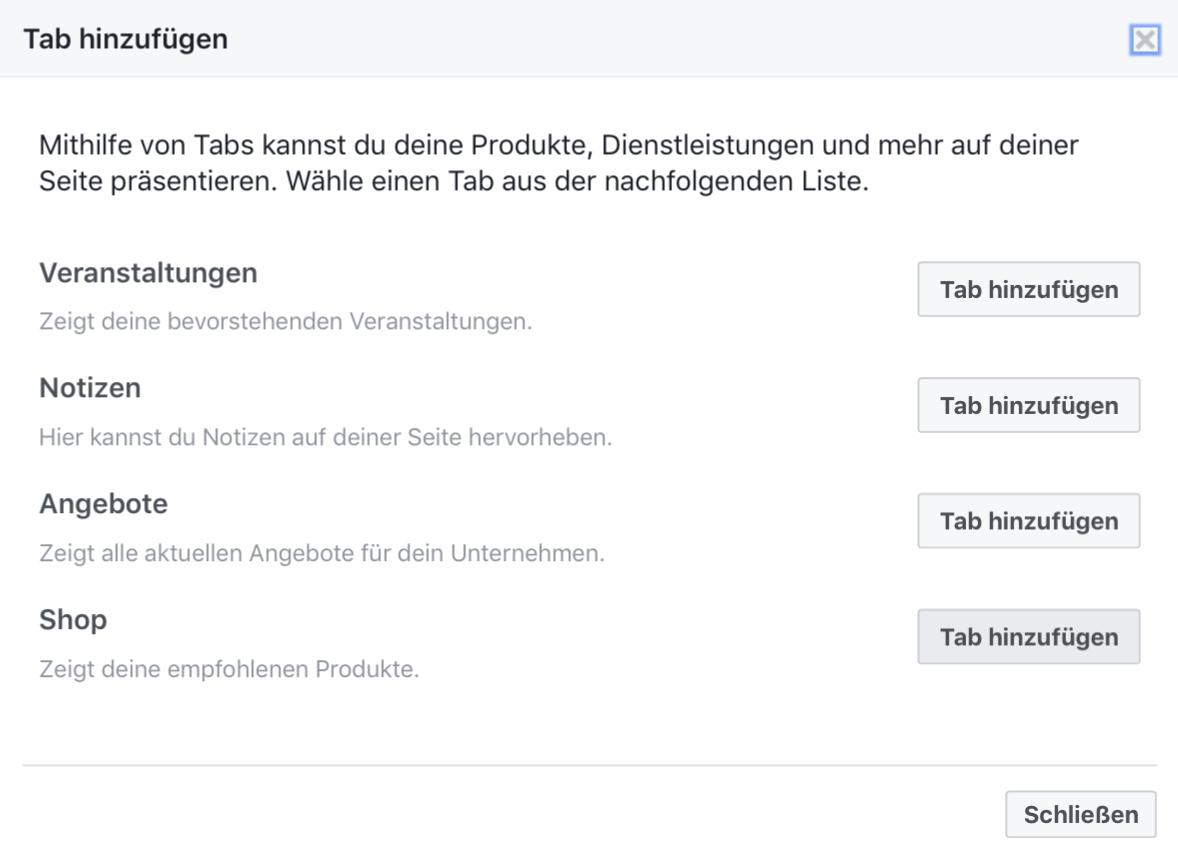 Facebook-Shop Tap hinzufügen