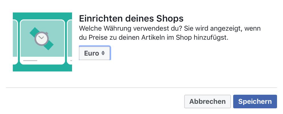 Facebook-Shop Währung