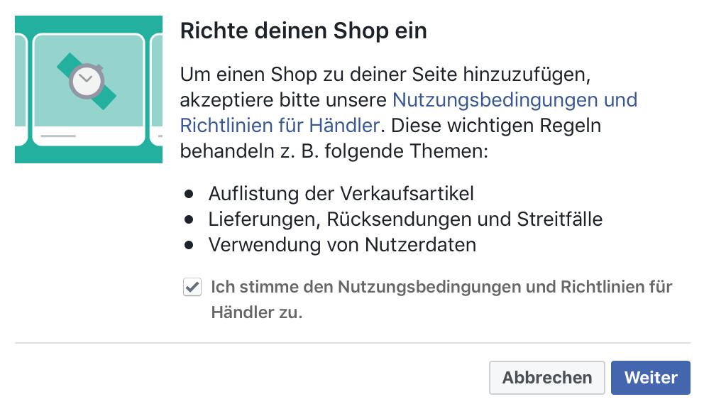 Facebook-Shop Nutzungsbedingungen akzeptieren