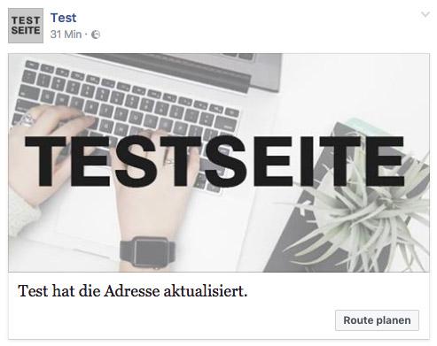 Automatischer Facebookbeitrag nach Adressänderung