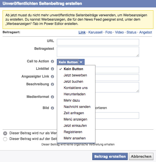 Facebookbeiträge im Powereditor mit Call-to-Action-Button erstellen