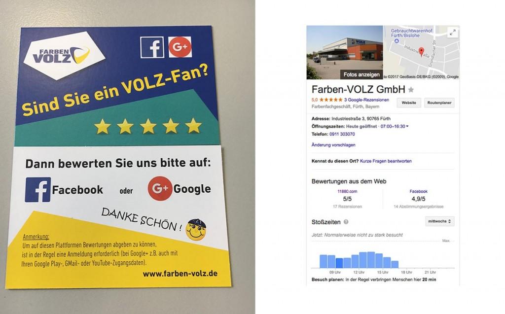 Werbematerial von Farben Volz für Onlinebewertungen und Ergebnisse im MyBusiness-Eintrag der Firma