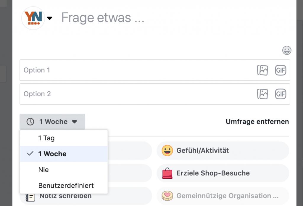 Abstimmungslaufzeit Facebook Umfrage