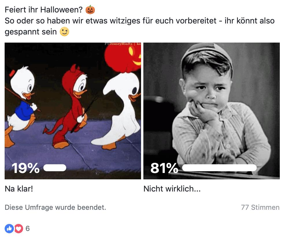 Beispiel einer Facebook Umfrage