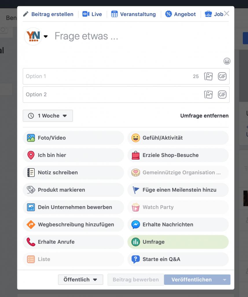 Facebook Umfrage Funktion