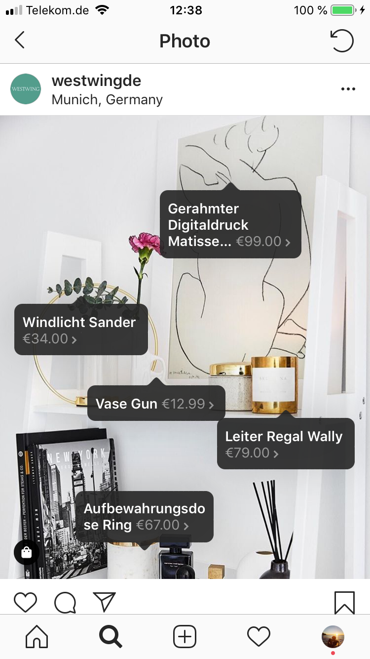 Westwing Produktbeispiel im Instagram-Post