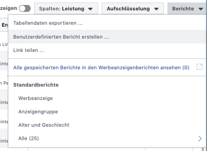 Benutzerdefinierten Bericht auf Facebook erstellen