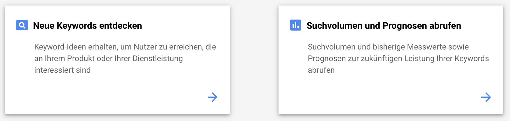 Google Ads Keyword Planer Funktionen Suchvolumen und Keywords entdecken
