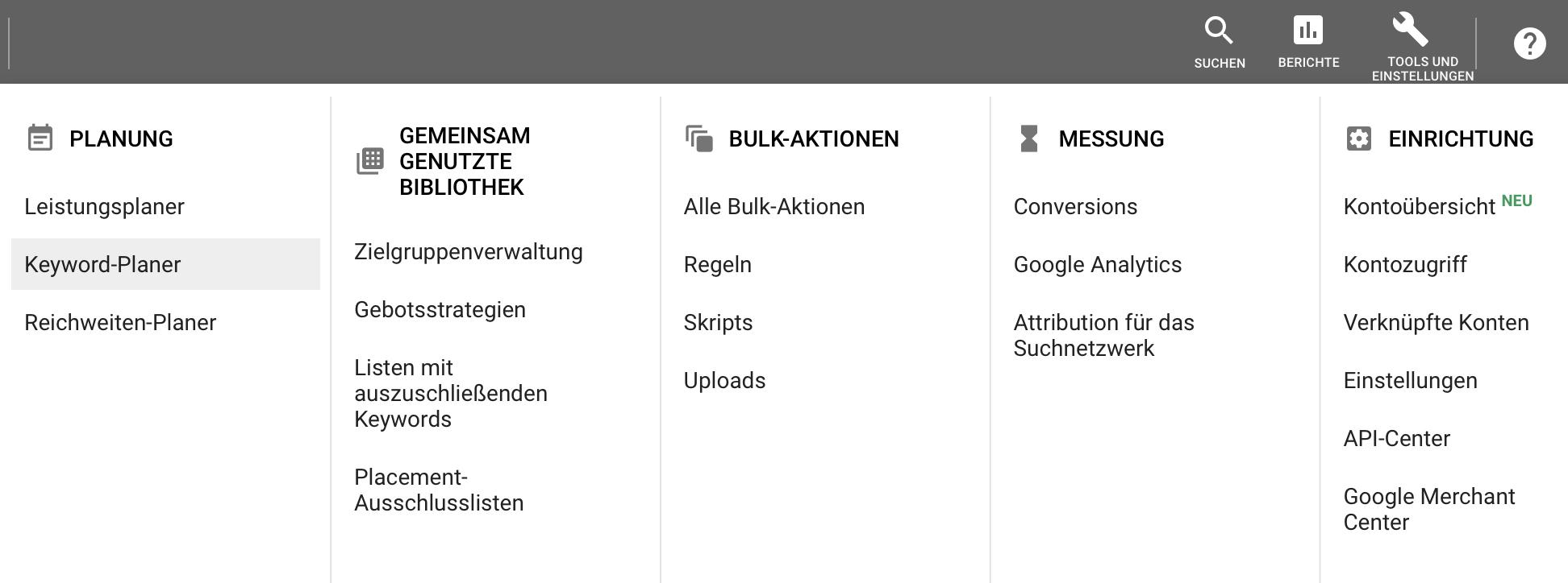 Google Ads Keyword Planer