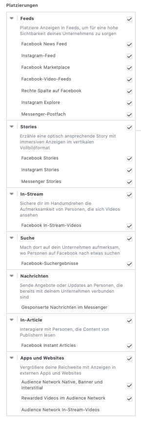 Platzierungen bei Facebook Werbeanzeigen (Fehler bei Facebook Werbung)