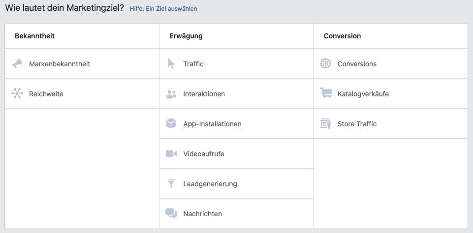 Richtige Marketingziel für Facebook Ads auswählen (Fehler bei Facebook Werbung)