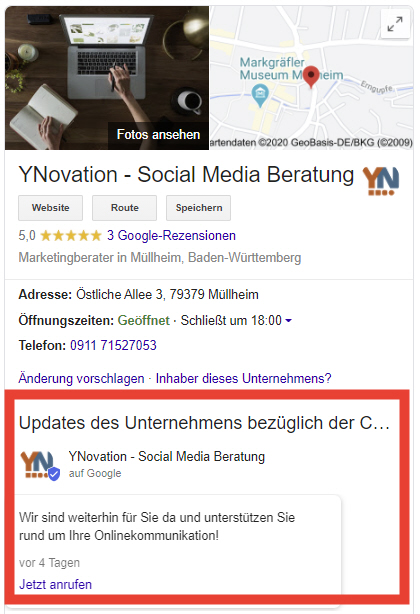 Darstellung der Google My Business Seite der Social Media Strategieberatung YNovation