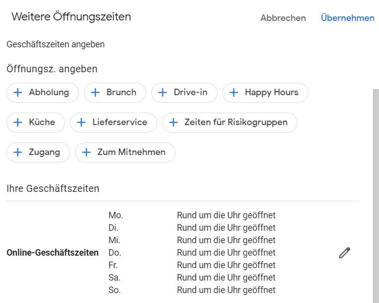 Google My Business: Angabe spezielle Öffnungszeiten wegen Corona